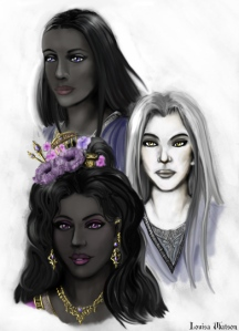 As an Esu Ankaykari, Liralian's status depends on the strength of her court. By the end of the Truce of Elanthar, she has the alleigance of three servants, making her one of the greatest rulers in Askamar. However, they make a surprising trio: Erulorian (top-left) is a patient and thoughtful healer, Xessuralen (center-right) is a hard-hearted warrior and Olemnashial (bottom-left) is famed as a dancer and musician.