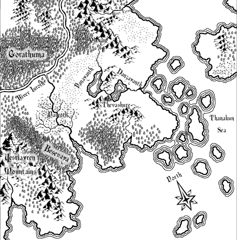 A map of Quathevara created with Campaign Cartographer 3 (CC3) and Adobe Photoshop Elements.