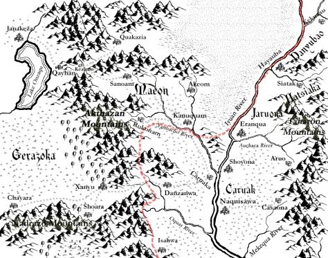 A map of the central provinces of Tuyaz-Oa created with Campaign Cartographer (CC3) and Adobe Photoshop Elements.