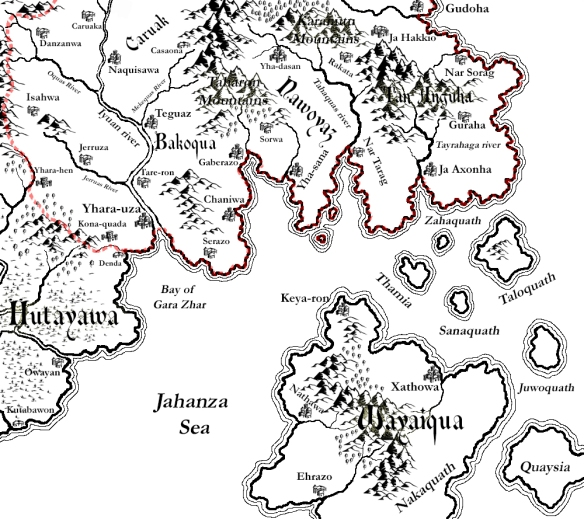 A map of the southern provinces of Tuyaz-Oa created with Campaign Cartographer (CC3) and Adobe Photoshop Elements.