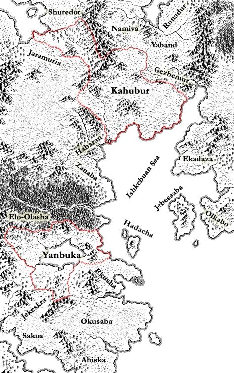 The Yanbukan and Kahuburi empires circa 620 EA, drawn using CC3
