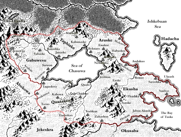 A map of the Yanbukan empire drawn using CC3 (Campaign Cartographer 3)
