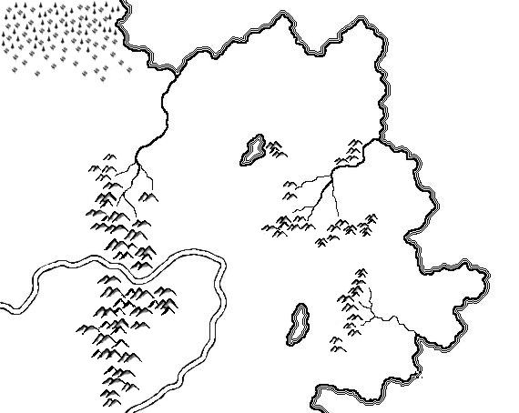 A map of Jasanure drawn with a tablet in Corel Photo-Paint 10