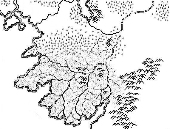 A map of Nursumemor hand-drawn in Corel Photo-Paint 10