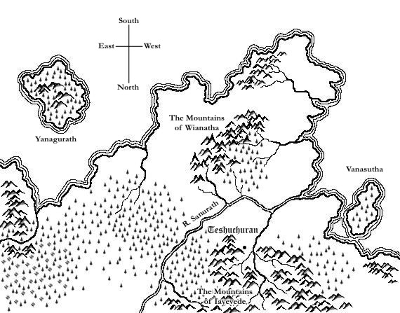 A map of Oumevare drawn with a tablet in Corel Photo-paint 10
