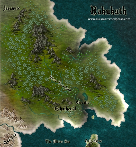 A fantasy map showing the region of Rakukath in the realm of Askamar