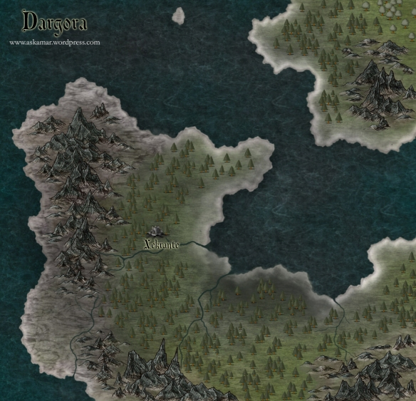 A map of Dargora created using CC3 and Adobe Photoshop