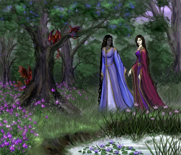 Artwork of Olemnashial and Arellesria by Louisa