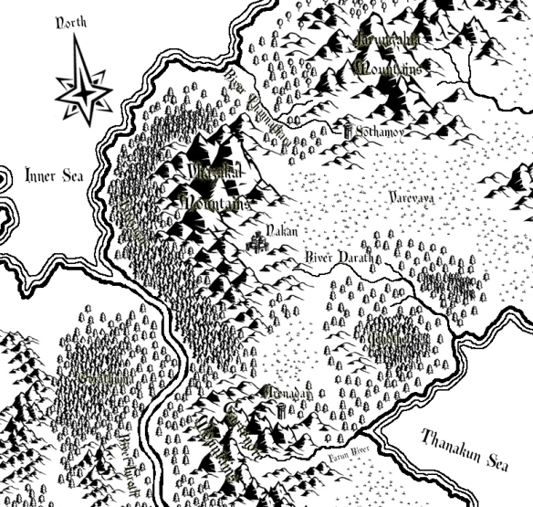 A map of Drakuzare created with Campaign Cartographer 3 (CC3) and Adobe Photoshop Elements.