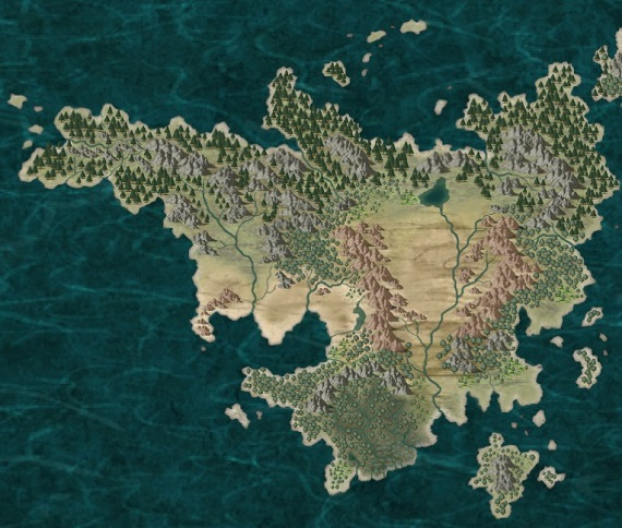 A map of Razurea drawn with CC3 and Corel Photopaint., back in 2014.