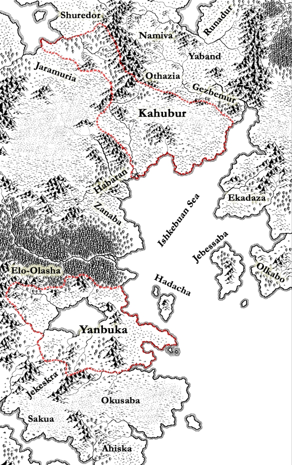 A map of Yanbuka and Kahubur drawn with CC3 (Campaign Cartographer 3)