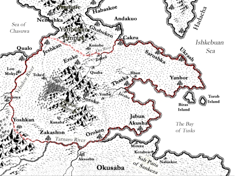 A map of Ekusha drawn with Campaign Cartographer 3