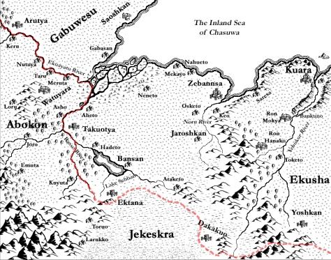 A map of Kuarake drawn in CC3
