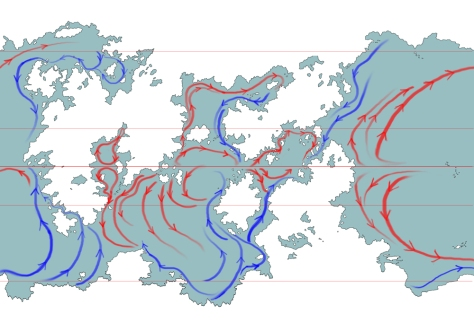 A map showing the ocean currents of Udars