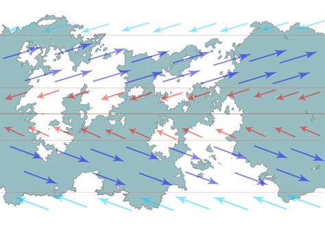 A map showing the wind patterns of Udaris