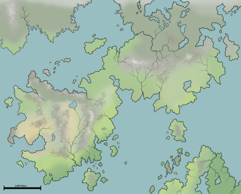 An early draft of the Tanurea map, showing the climates