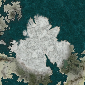A map of the north pole of Udaris created using CC3 and Adobe Photoshop Elements 18