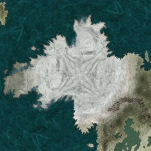 A map of the south pole of Udaris created using CC3 and Adobe Photoshop Elements 18