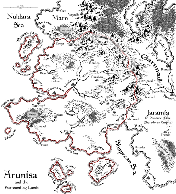 A map of Arunisa created with CC3